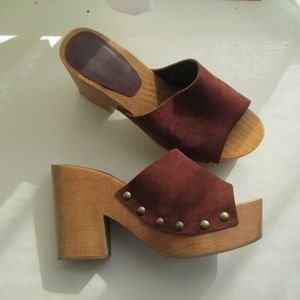 Zara Basics Suede and Wood Chunky Platform Heels